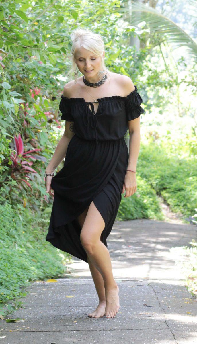 Gypsy Dress Shoulder Free Black