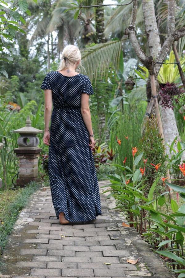 Polka Dot Wrap Dress Long Schwarz
