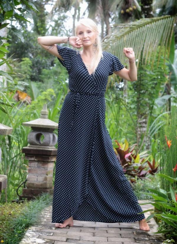 Polka Dot Wrap Dress Long Black
