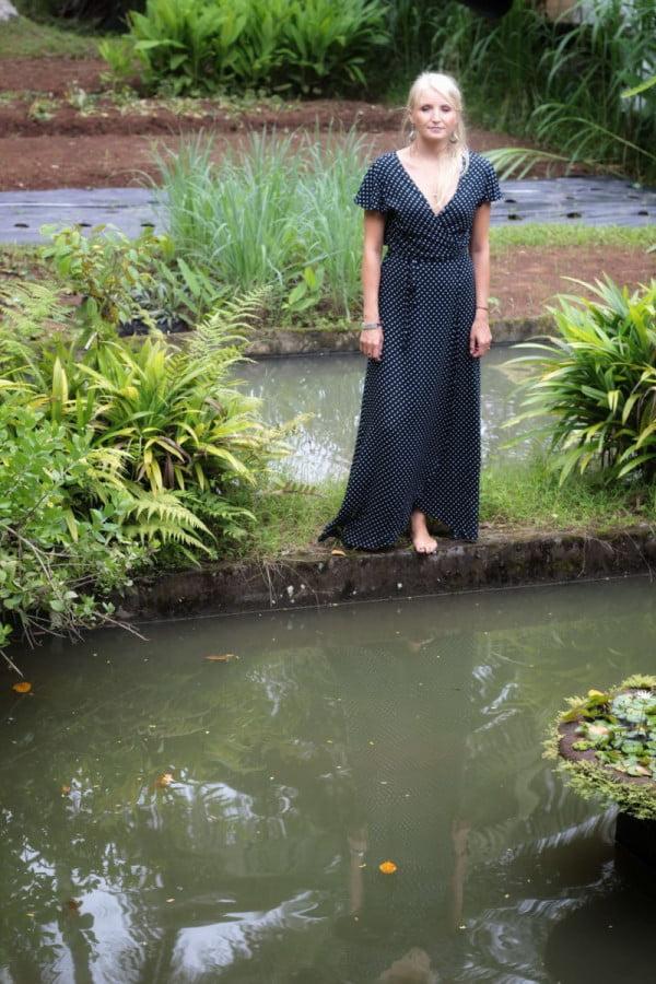 Polka Dot Wrap Dress Long Black Polka Dot Maxi dress Short sleeves