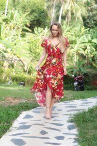 ac04535488 Boho Wrap Dress with Flounce Floral Summer Maxi Dress red dresses  Asymmetrical dress