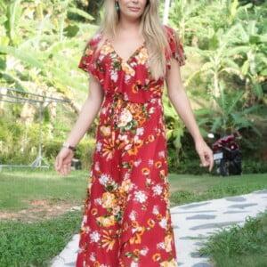 Boho Wickelkleid mit Volant Blumenkleid Sommer Maxi Kleid rot Asymmetrisch Gypsy Kleid