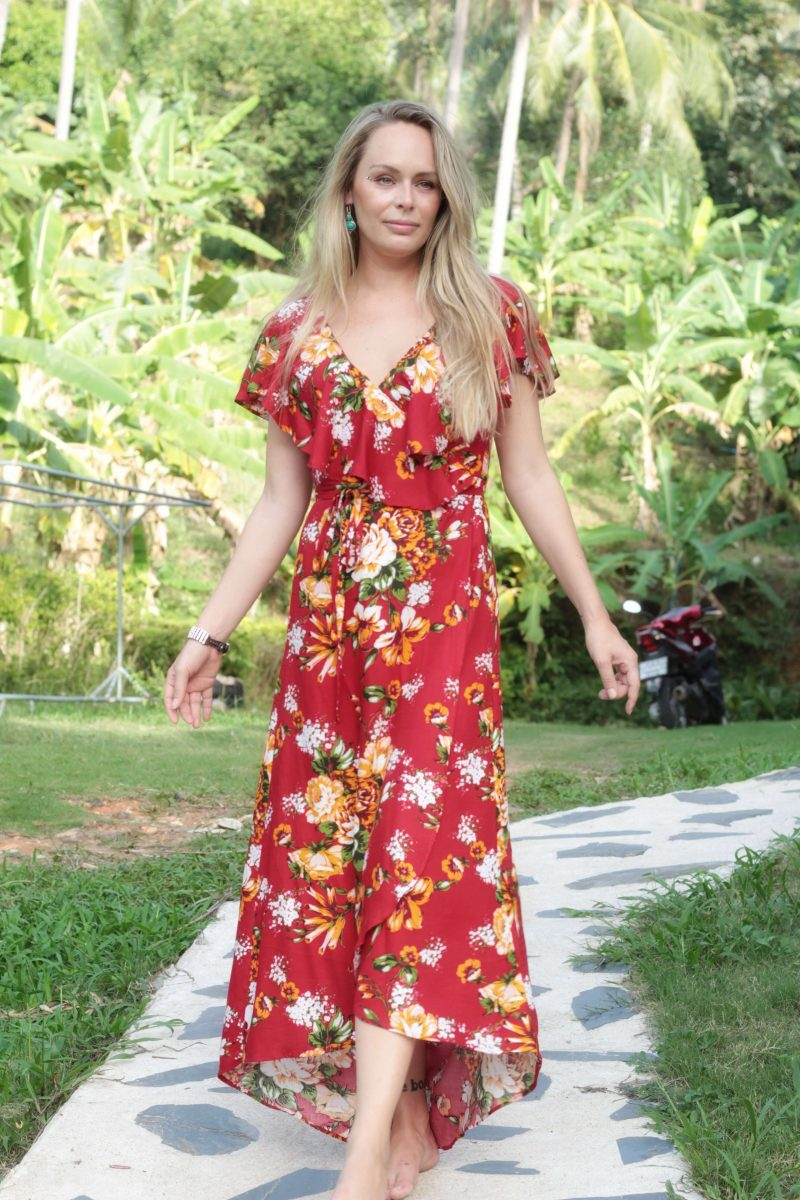 6dc55e65ab7 Boho Wrap Dress with Flounce Floral Summer Maxi Dress red dresses  Asymmetrical dress Summer Dresses Gypsy
