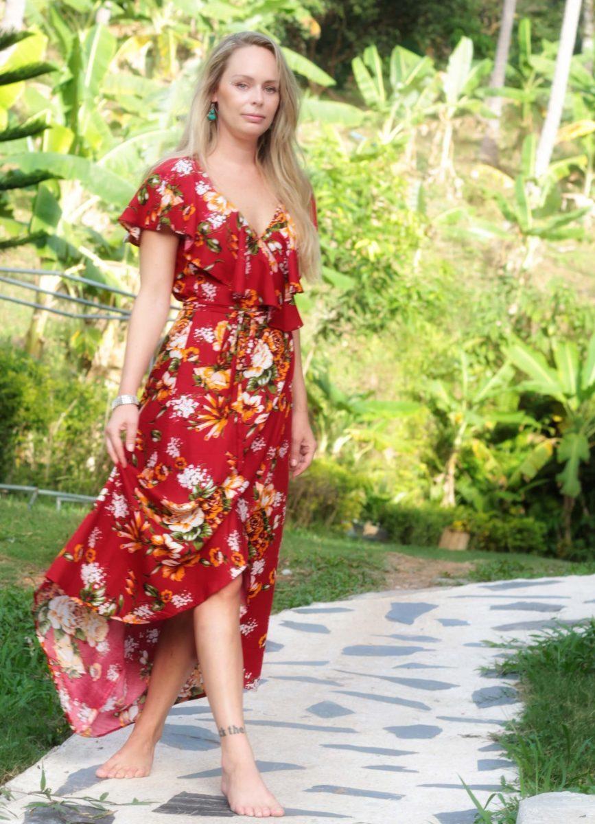 67f46e540d Boho Wrap Dress with Flounce Floral Summer Maxi Dress red dresses  Asymmetrical dress Summer Dresses Gypsy