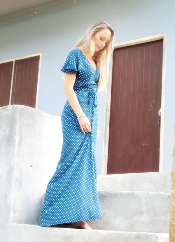 Tupfen Punkte Wickelkleid Polka Dot Blau