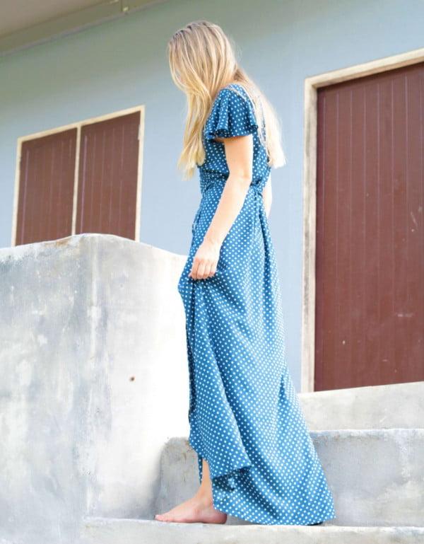 Tupfen Punkte Wickel Maxi kleid lang Polka Dot Blau