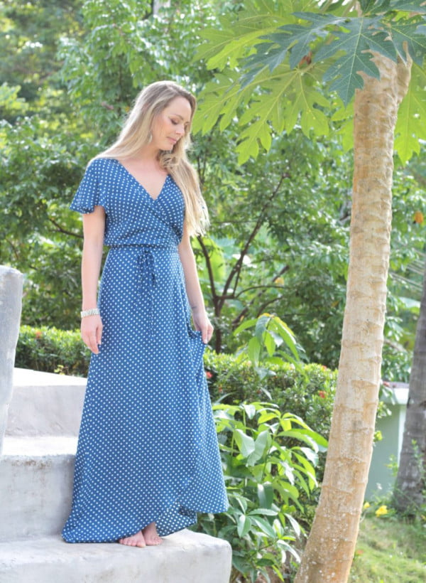 Punkte Wickelkleid lang Flatterhülse gepunktet Ibiza Style