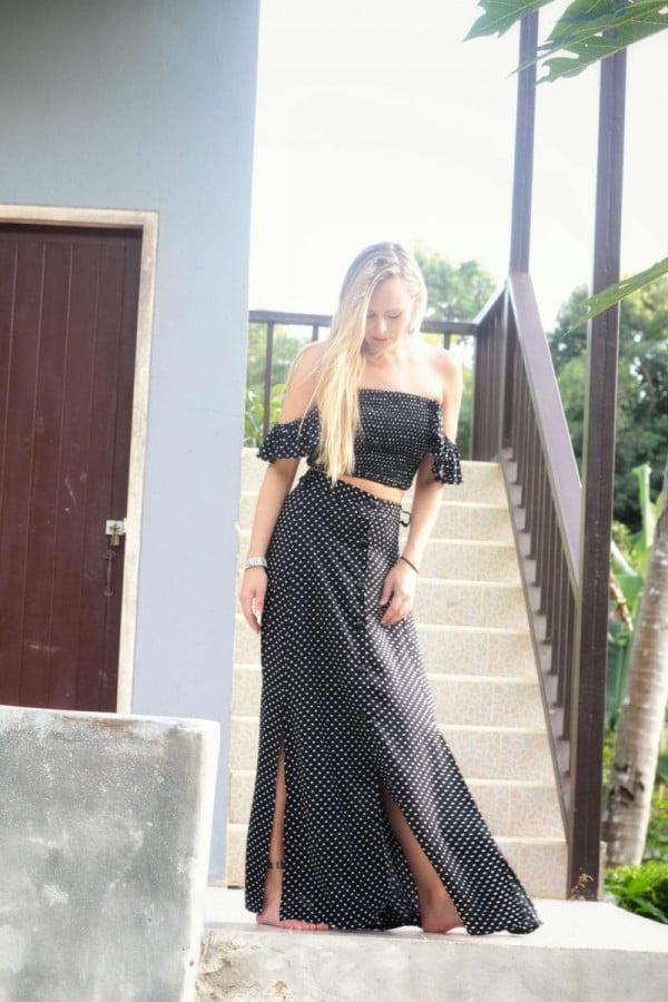 Sommer Punkte Kleid Zweiteiler Set Schwarz