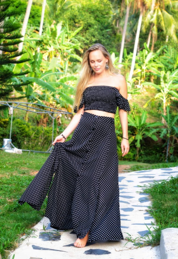 Zweiteiler Punkte Kleid schwarz Boho Ibiza Style