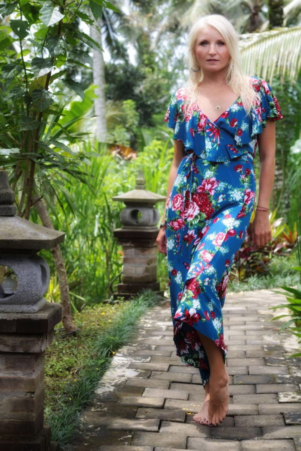 Boho Blumen Wickel Maxi Kleid Sommerkleid Blumen Volant Ausschnitt Voant Kleid Blau