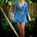 Polka Dot Mini Dress Flounce Blue 3/4 bell sleeves Dress Short