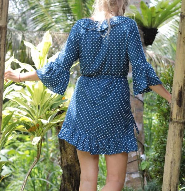 Süße Sommerkleider Polka Dot Mini Kleid Blau 3/4 Trompetenärmel Kleid Kurz