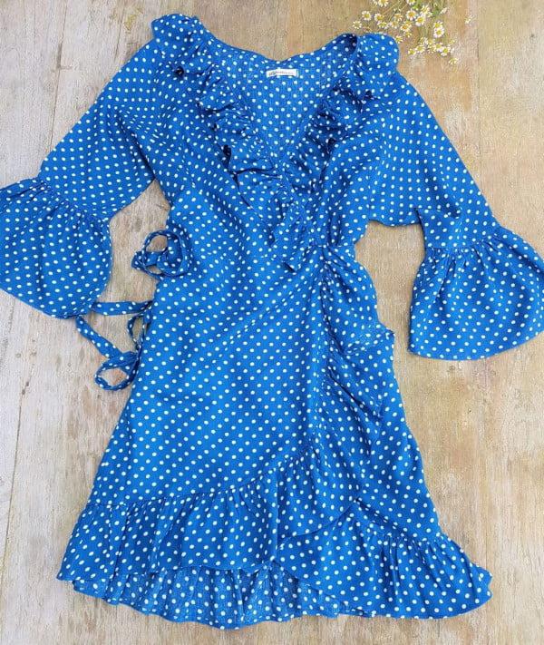 Boho Sommer Wickelkleid gepunktet blau weiß