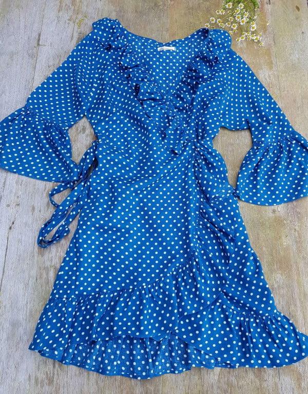 Boho Punktekleid Wickelkleid Blau Weiß gepunktet