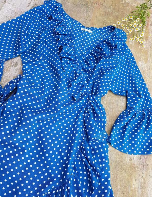 Sommerkleid Wickelkleid Rüschenkleid Blau Weiß Gepunktet Punktekleid Tupfenkleid