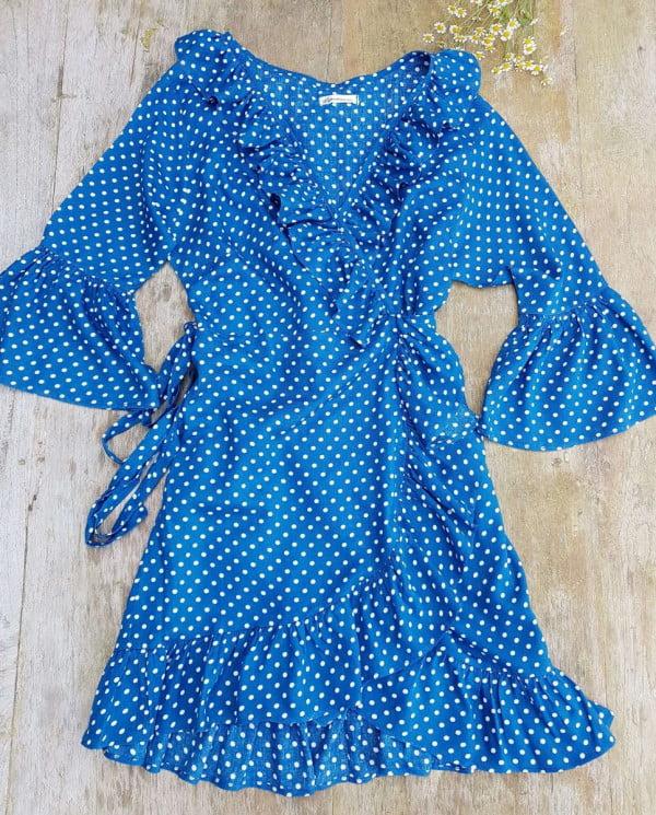 Sommerkleid Wickelkleid Rüschenkleid Blau Weiß Gepunktet Punktekleid Tupfenkleid Weltentänzer Berlin