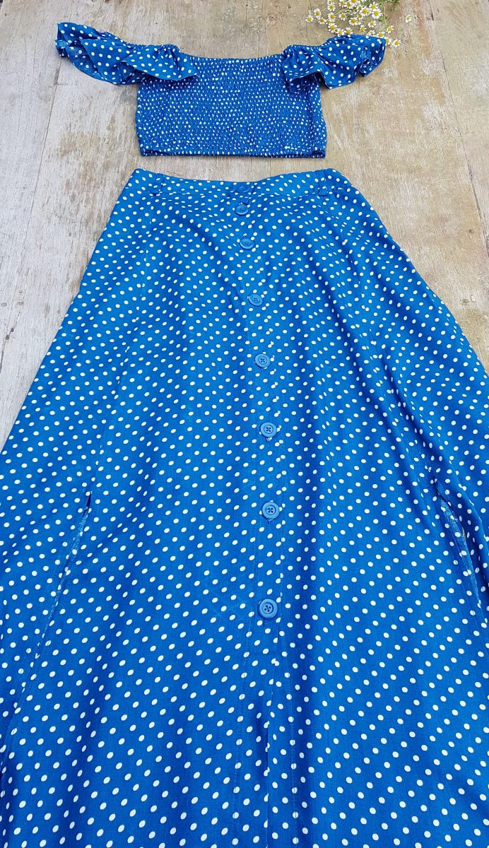 Polka Dot Maxi Two Piece Kleid Blau Weiß Punkte Kleid