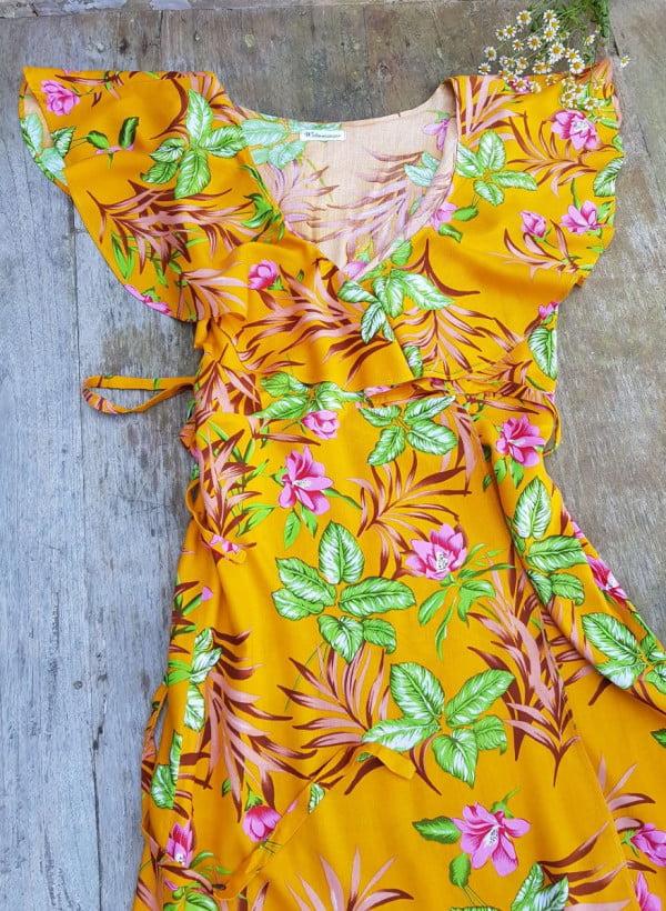 70er Jahre Blumenkleid Sommerkleid Volantkleid Gelb