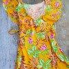 70s Vintage Hippie Chic Kleid mit Volant Gelb Blumen
