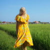 70s Boho hippie dress yellow