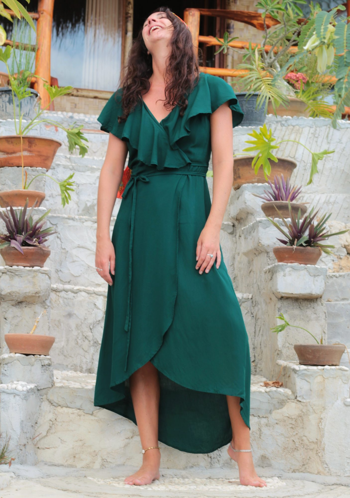 "Maxi Wrap Dress with Flounce ""Loving you is easy"" bottle green -  Weltentänzer Berlin"