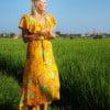 Boho Sommer Wickelkleidkleid Blumenkleid Sommerkleid Asymmetrisch mit Volant Gelb