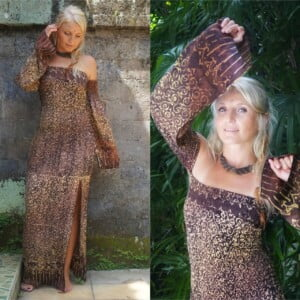 Boho Sommerkleid Festival Kleid Batik Kleid lang. Hippie Kleid. Kleid mit Schlitz