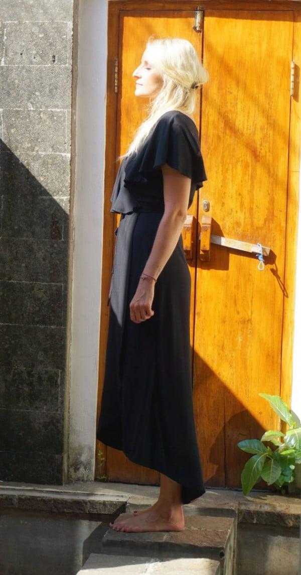 Boho Wickelkleid Schwarz Elegant Maxi Wickel Kleid Asymmetrisch