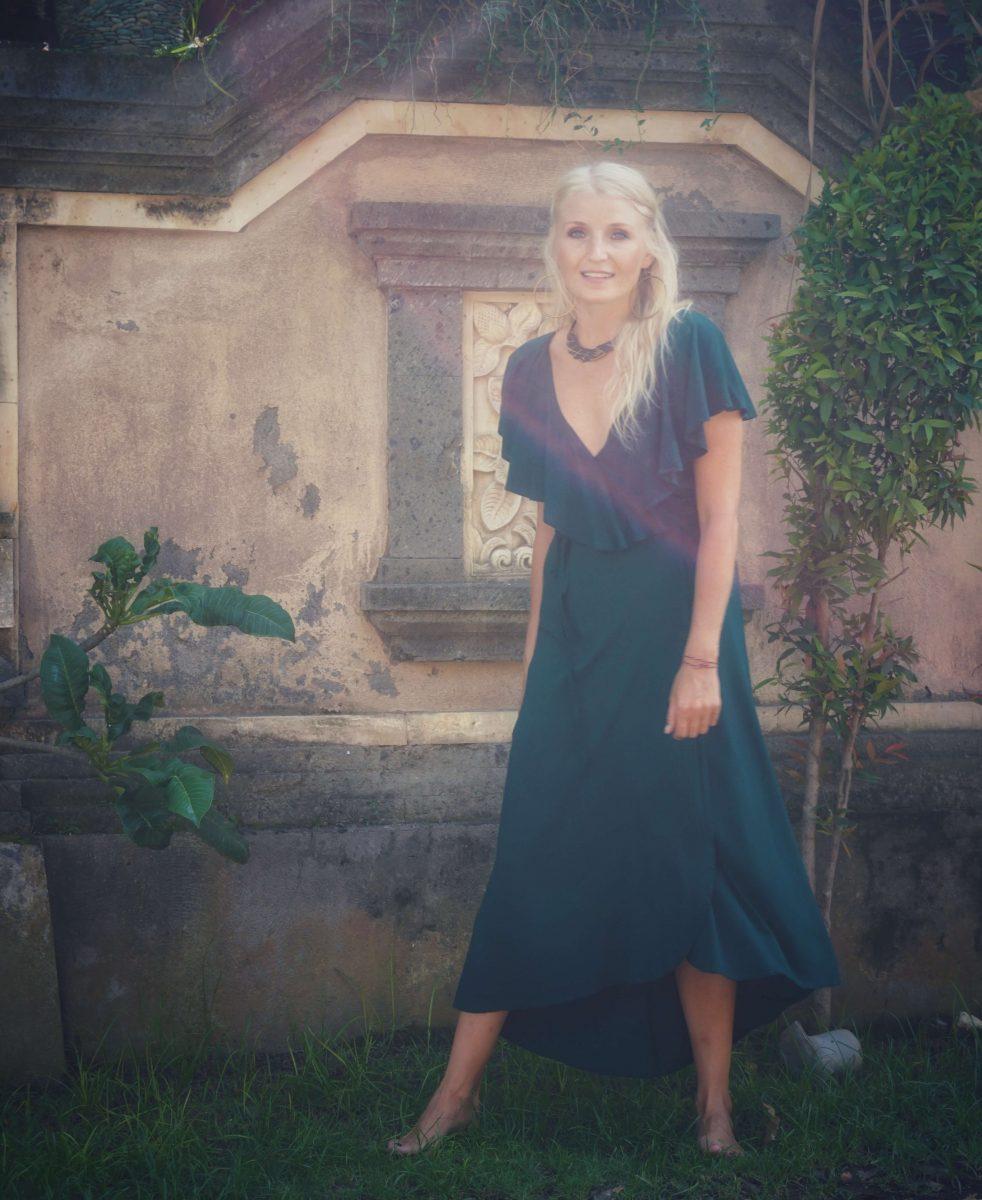 Boho Sommer Wickelkleid Elegant Wickel Kleid mit Volant Flaschengrün Grün