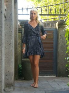 Polka Dot Mini Dress Bell Sleeves Black Dress Flounce Ruffles Short