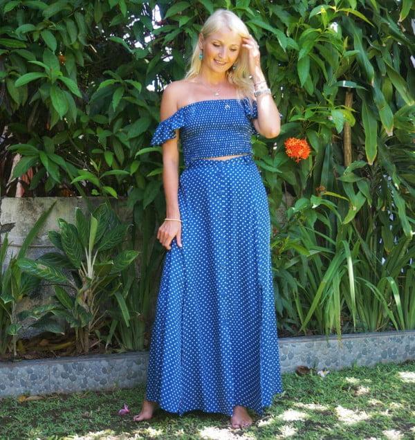 2 Piece Polka Dot 2 Teiler Kleid mit Rüschen Maxikleid Sommer Maxi Kleid Blau Tupfen Kleid