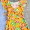Gelbes Sommerkleid mit Volant Blumenkleid