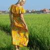 Hippie Boho Sommer Blumen Strand Kleid Gelb Strahlend Gelb