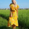 Hippie Boho Sommerkleid Gelb Wickelkleid