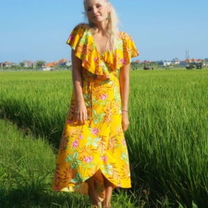 Hippie boho summer dress yellow wrap dress