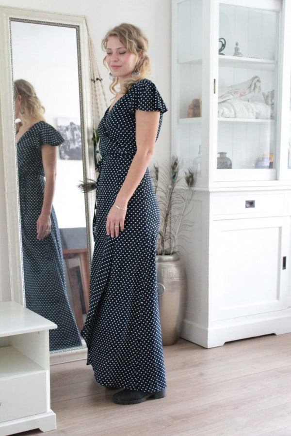 Polka Dot Maxi Kleid Maxikleid Schwarz Blau Punktekleid Kleid lang gepunktet