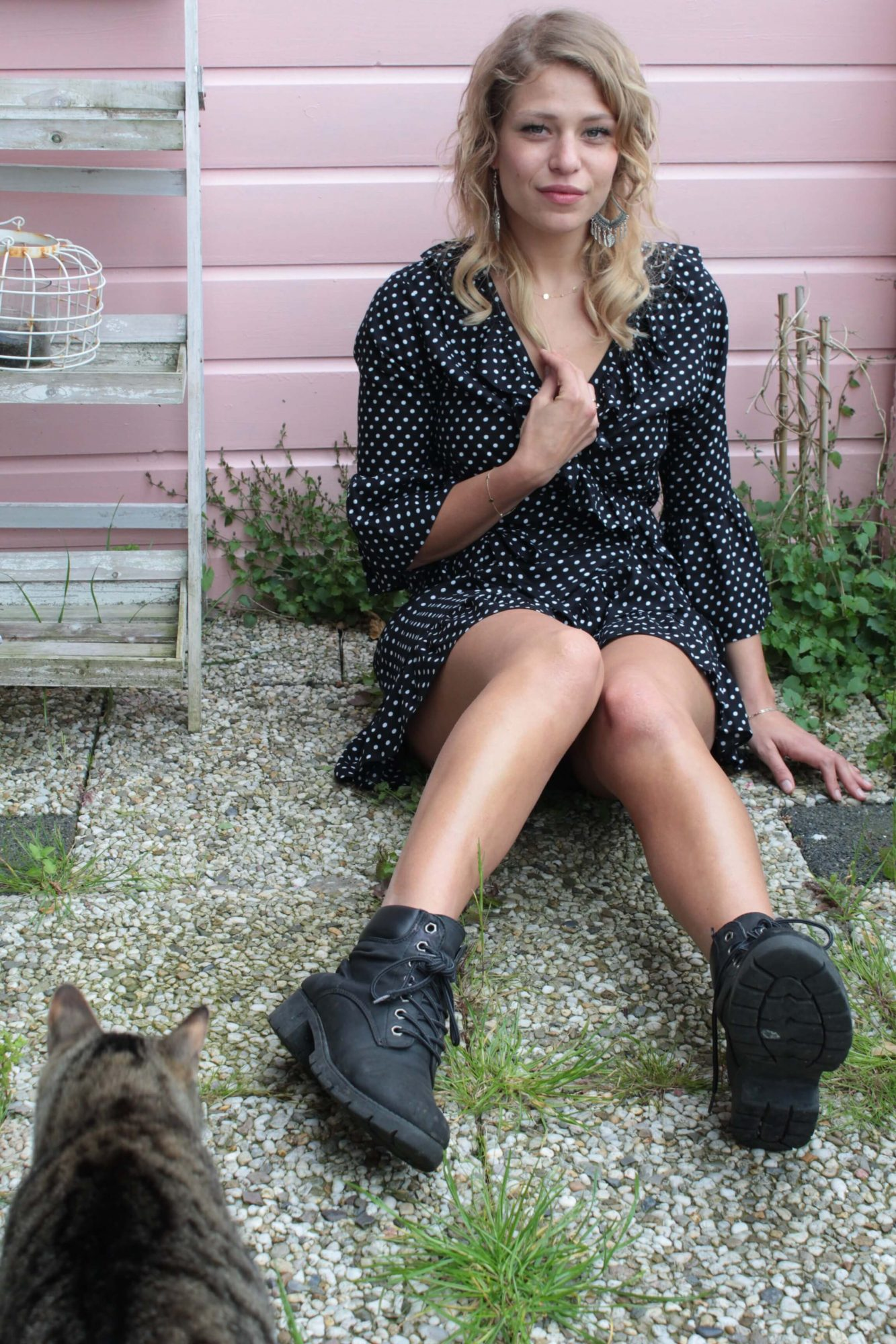 Polka Dot Mini Kleid mit Rüschen Sommer Kleid Kurz Kurzes Punkte Sommerkleid