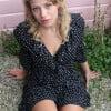 Polka Dot Mini Kleid mit Rüschen Sommer Kleid Kurz Kurzes Punkte Sommerkleid 3/4 Arm