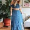 Blaues Sommerkleid Schulterfrei Gepunktet