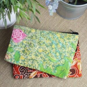 Make Up Tasche Kosmetiktasche Bali Batik Baumwolle Retro Style
