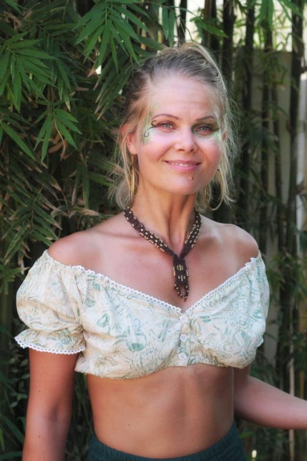 Sommer Batik Baumwoll Fesitival Gypsy Hippie Off Shoulder Crop Top Bardot Oberteil Schulterfrei