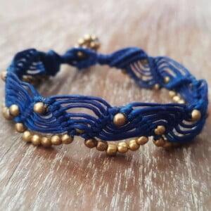 Macrame Bracelet blue with golden brass beads