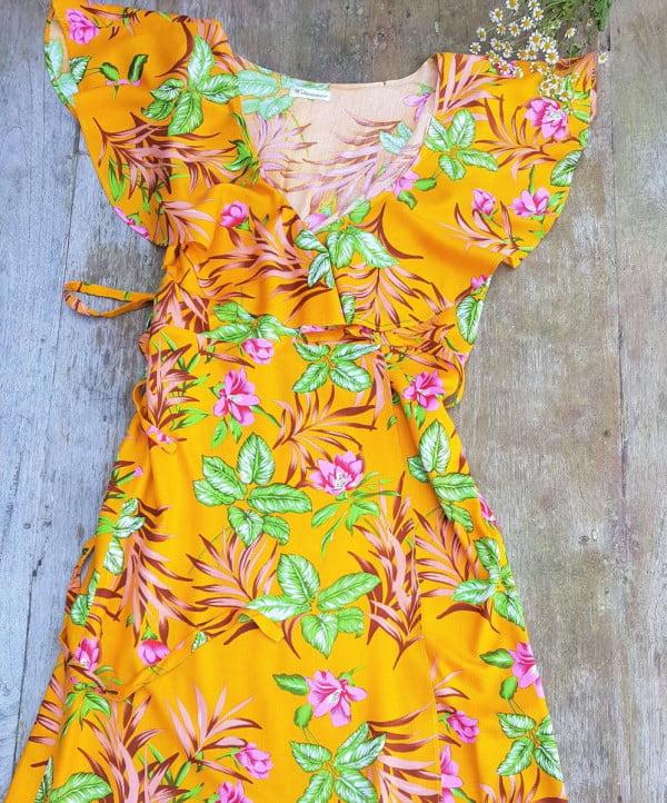 Sommer Blumen Volant Wickel Kleid Gelb