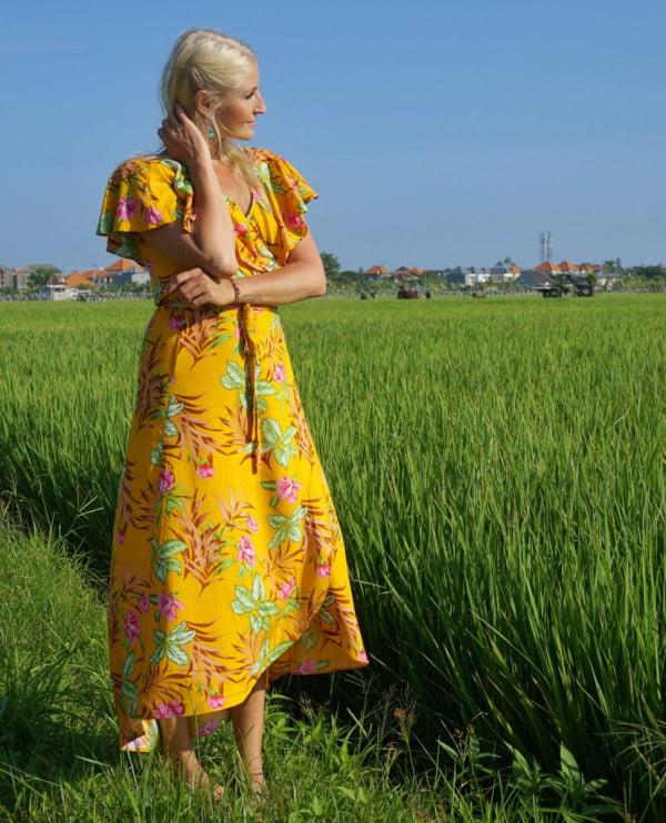 Sommerkleid Hippie Boho Ibiza Sommer Strand Gelb