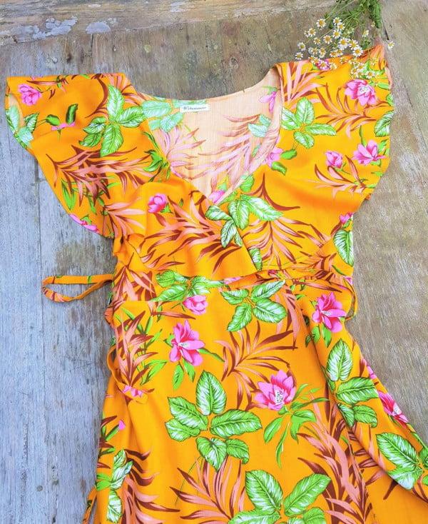 Sommerkleid Kurzarm Gelb Blumen Volant 70er Jahre Kleid