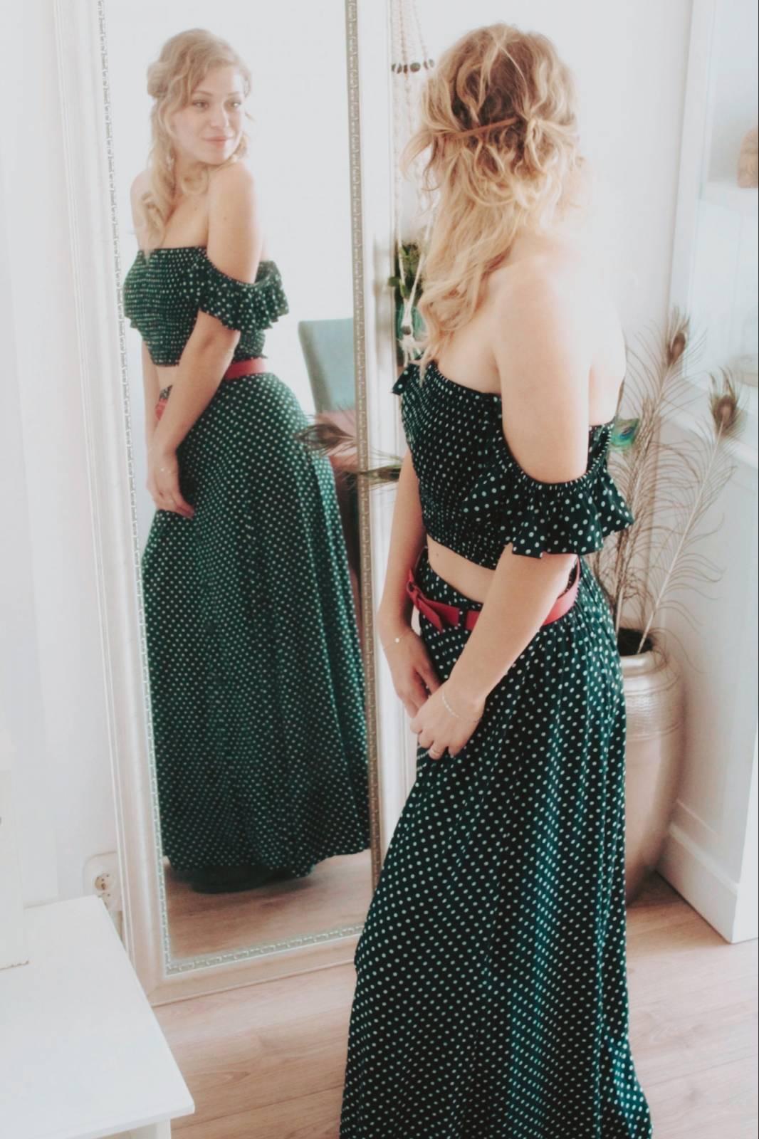 Zweiteiliges Kleid Polka Dot Maxirock mit Schlitzen Rüschen Top