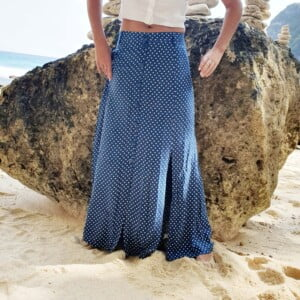 Boho Chic Maxirock Blau Polka Dot Ibiza Style