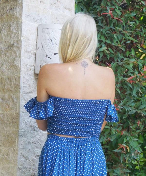 Boho Sommer Punkte Polka Dot Trop mit Rüschenträgern Blau