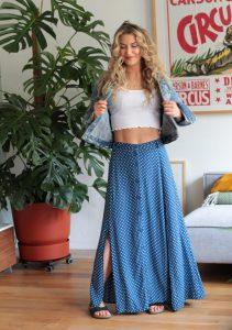 Button Down Maxi Skirt Polka Dot Blue