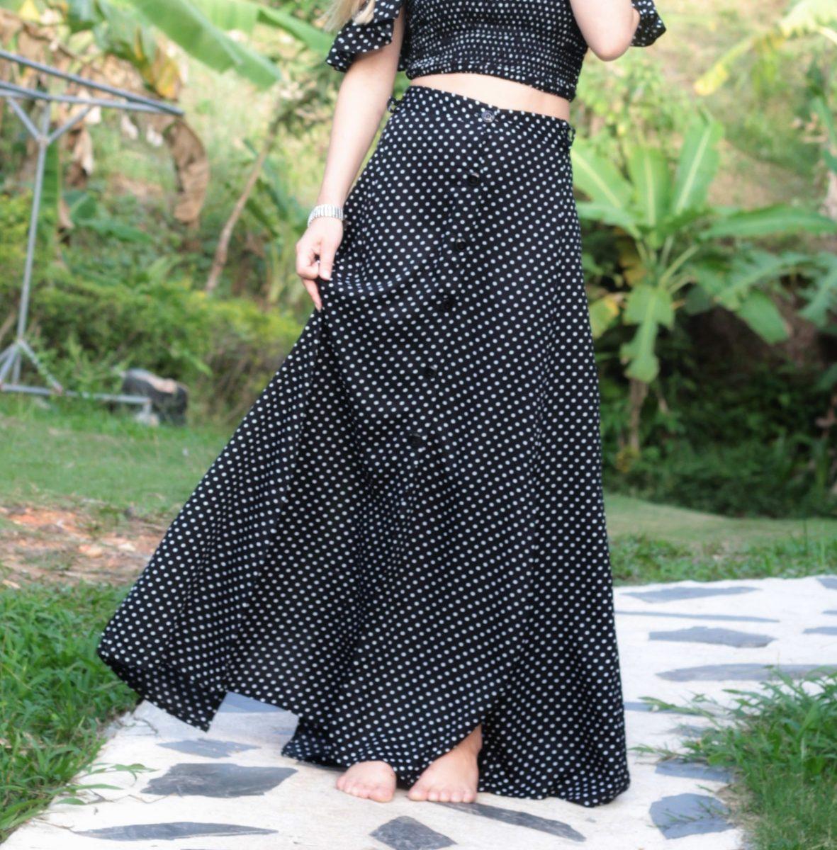 19327ff64 Polka Dot High Waist Maxi Skirt